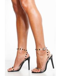 4654359f9cf Boohoo Bow Back 2 Part Heels in Black - Lyst