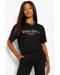 Boohoo Ye Saint West Oversized T-shirt - Black