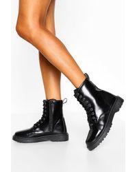 Boohoo Womens Boots Mit Dicker Sohle Zum Schnüren - Schwarz