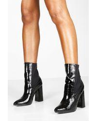 Boohoo Womens Croc Pointed Toe Block Heel Sock Boots - Black
