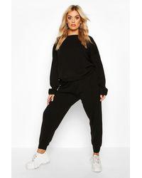 Boohoo Plus Knitted Jumper & Jogger Set - Black