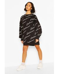Boohoo Woman All Over Print Oversized Sweat Dress - Black