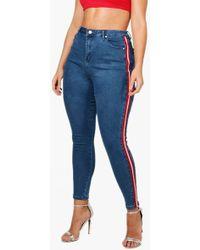 Boohoo - Plus Lizzy Sports Stripe Skinny Jean - Lyst