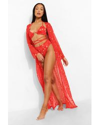 Boohoo Constellation Print Maxi Kimono - Rojo