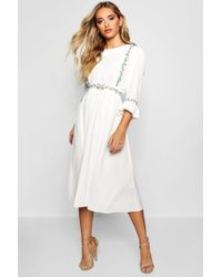 Boohoo Womens Embroidered Ruffle Sleeve Midi Dress - White - 4