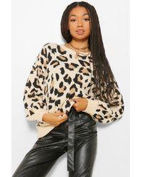 Boohoo Leopard Print Balloon Sleeve Sweater - Multicolor