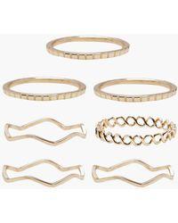 Boohoo - Delicate Rings 7 Pack - Lyst