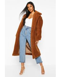 Boohoo Womens Oversized-Fake-Fur-Mantel - Braun