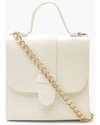 Boohoo Croc Tab Small Tote Bag - White
