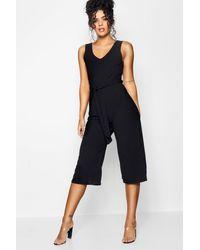 Boohoo Basic Ribbed Culotte Jumpsuit - Black