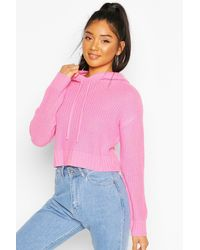 Boohoo Knitted Hooded Cropped Sweater - Pink