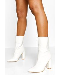 Boohoo Pointed Sock Boot - White