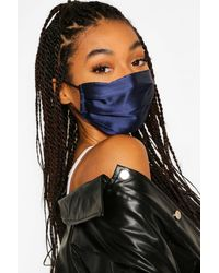 Boohoo 2 Pack Pleated Satin Fashion Face Mask - Black