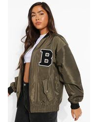 Boohoo Varsity Oversized Bomber Jacket - Green