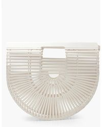 Boohoo Wooden Structured Grab Bag - White