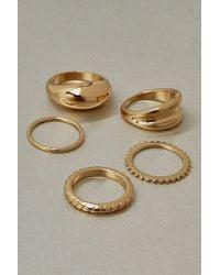 Boohoo Recycled Metal 5 Pack Stacking Rings - Metallic