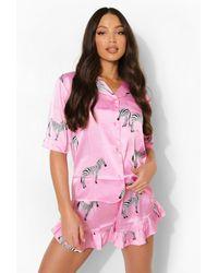 Boohoo Pijama Tall Corto De Raso Con Estampado De Zebra Y Ribete - Rosa