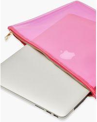 Boohoo Clear Zip Top Laptop Case - Pink