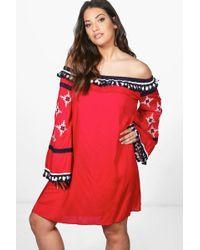 9df966457545 Boohoo | Plus Tia Boutique Off Shoulder Tassle Shift Dress | Lyst