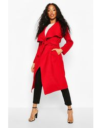 Boohoo Belted Waterfall Coat - Red