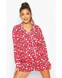 Boohoo Heart Print Jersey Button Through Pj Shorts Set - Red