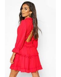 Boohoo Woven Ruffle Trim Skater Dress - Red
