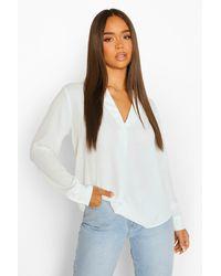 Boohoo Womens Langärmelige Bluse Mit Kragen - Weiß
