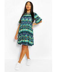Boohoo Plus Aztec Ruffle Smock Dress - Black