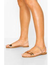 Boohoo Wide Fit Metallic Elastic Strap Sandals - Metálico