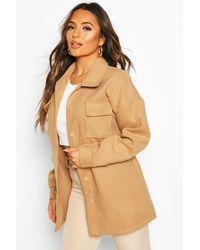Boohoo Petite Wool Look Belted Pocket Detail Jacket - Natural