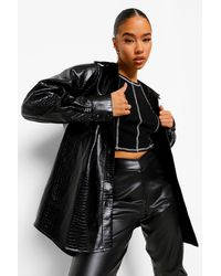 Boohoo Croc Faux Leather Shacket - Black