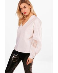 Boohoo - Megan Ruched Sleeve Lace Panel Top - Lyst