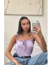 Boohoo Ruffle Detail Tie Shoulder Strap Cami - Purple