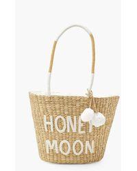 Boohoo Honey Moon Pom Pom Large Straw Beach Bag - White