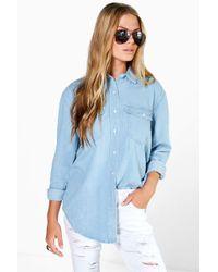 Boohoo - Oversize Bleach Wash Denim Shirt - Lyst