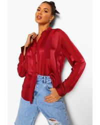 Boohoo Satin Stripe Collarless Shirt - Red