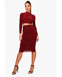 Boohoo - Womens Rouched Sleeve Midi Skirt Co-ord Set - Lyst