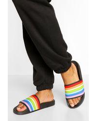 Boohoo Rainbow Pool Slider - Black