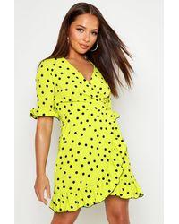 Boohoo Womens Neon Spot Ruffle Front Tea Dress - Green