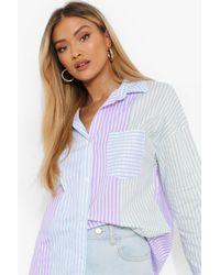 Boohoo Colour Block Oversized Stripe Shirt - Azul