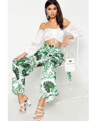 Boohoo Womens Paper Bag Waist Palm Print Wide Leg Trousers - Green - 4