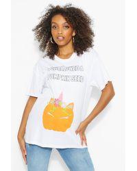 Boohoo T-Shirt De Maternité « I Swallowed A Pumpkin Seed » - Blanc