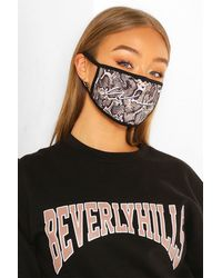 Boohoo Woman Snake Fashion Face Mask - Black