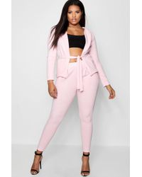Boohoo - Plus Belted Wrap Suit Co-ord - Lyst
