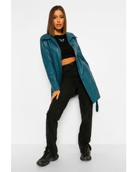 Boohoo Belted Faux Leather Jacket - Green