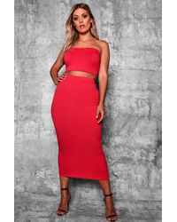 Boohoo Plus Crepe Basic Midi Bodycon Skirt - Rosso