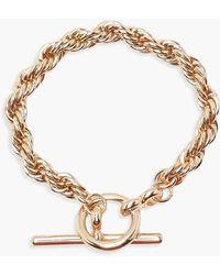 Boohoo Chunky Chain T Bar Bracelet - Metallic