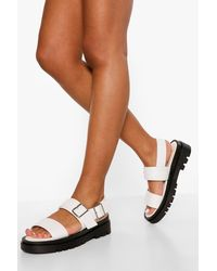 Boohoo Double Buckle Sporty Dad Sandal - White