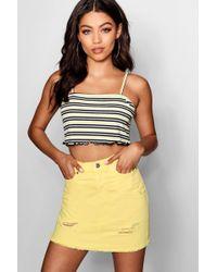 Boohoo - Coloured Denim Mini Skirt - Lyst
