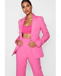 Boohoo - Plunge One Button Blazer - Lyst